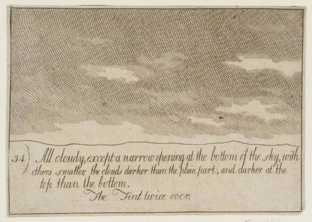 """34. All Cloudy, except a Narrow Opening at the Bottom of the Sky, with Others Smaller, the Clouds Darker than the Plain Part; and Darker at the Top than the Bottom. The Tint Twice Over null by Alexander Cozens"" 1717-1786"
