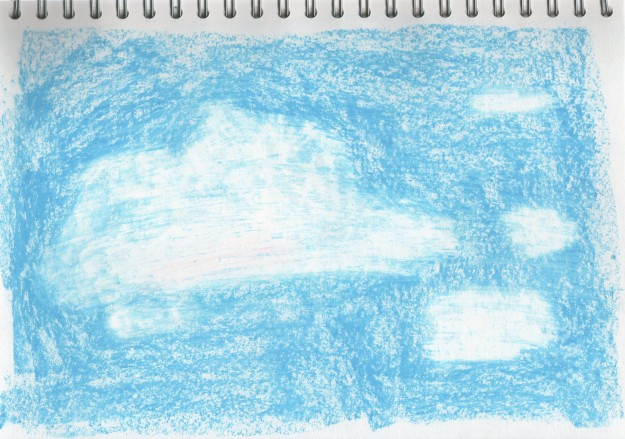 Experimental study - Oil pastel clouds.  I drew the clouds in white, then I drew blue on top of the white and around it.  Then I scraped away the blue from the white which was effective because you can see the different residues of blue on white, which creates different textures.  This method not incredibly predictable.