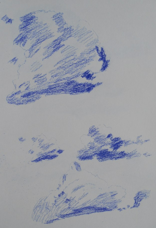 Conte crayon cloud study drawings.  Still using just one colour at this point.
