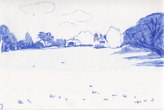 East view drawing.  Blue felt tip pen.