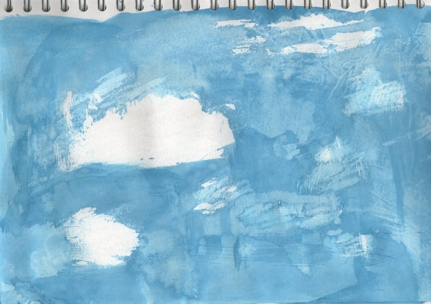 Cloud drawing media exploration - White oil pastels with blue acrylic ink wash.  This is effective because of the textures created by the ink on the oil pastels and the marks left by the tissue I used to remove pools of wet ink.