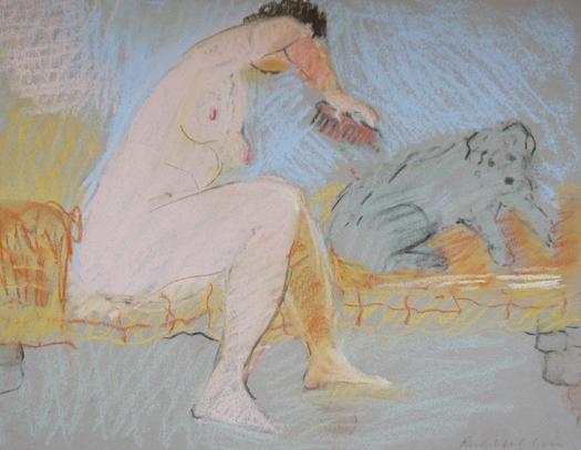 Rose Hilton, 'Brushing the Dog' pastel on paper 23 x 29 cm